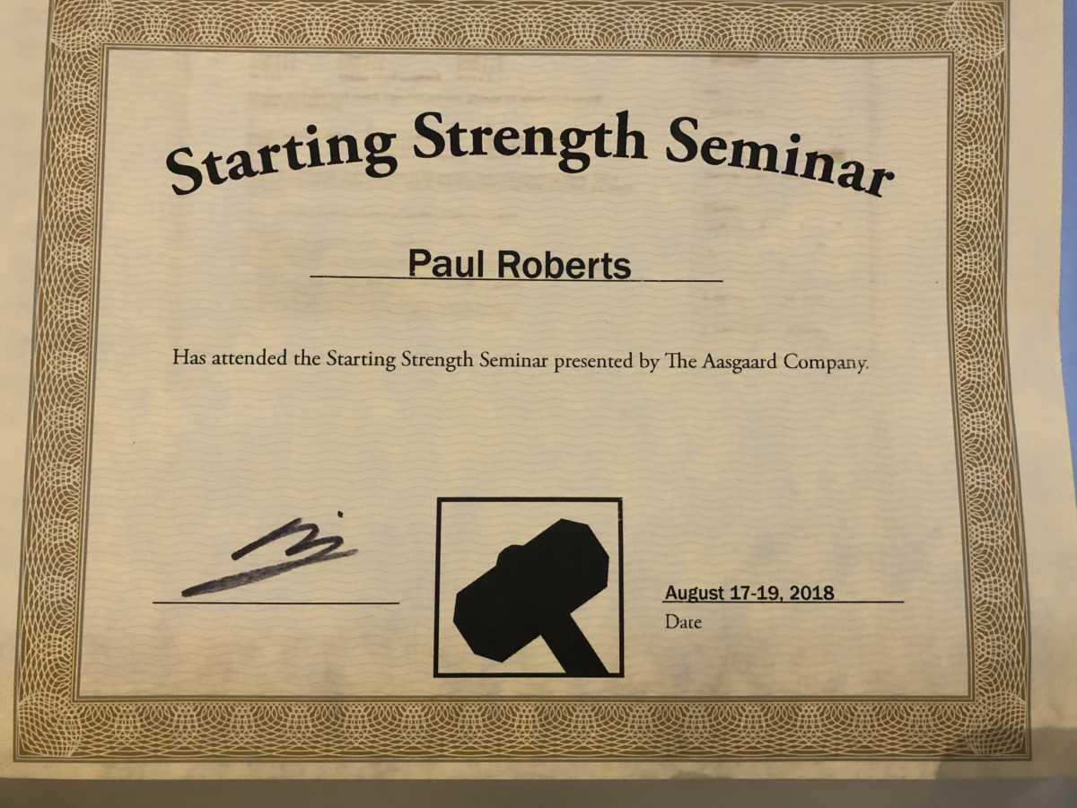 Starting Strength Seminar Certification