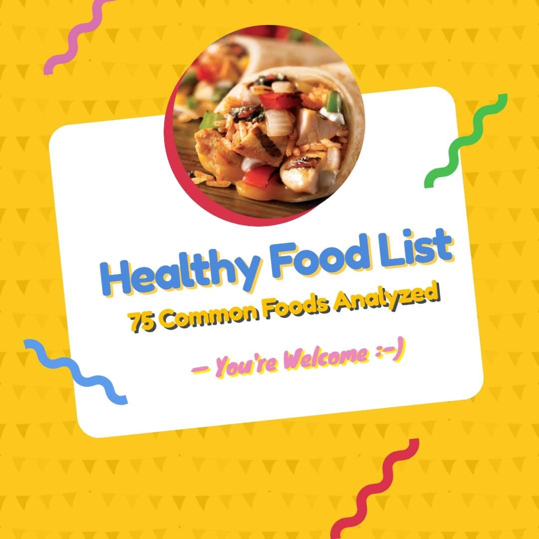 Healthy Food List Nutritionist Near Me