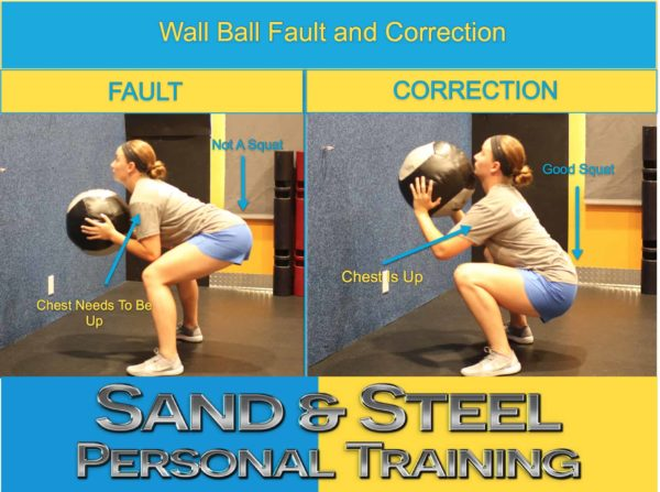 wall ball, beginner, squat, tutorial, fault and correction