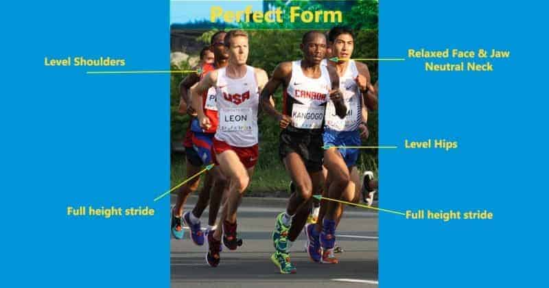 Running 20 miles pros demonstrate near perfect form reducing Injuries