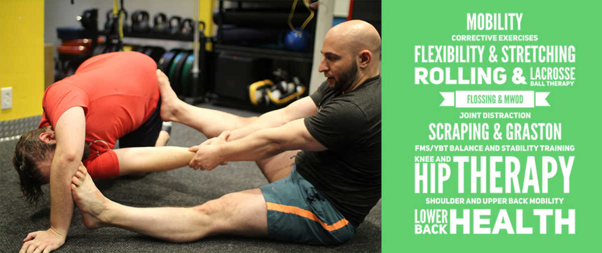 Mobility Training. Corrective Exercises Flexibility & Stretching Rolling & Lacrosse Ball Therapy Flossing & M|WOD Joint Distraction Scraping, Graston, & Instrument-Assisted Soft Tissue Mobilization FMS/YBT Balance and Stability Training Knee and Hip Therapy Shoulder and Upper Back Mobility Lower Back Health