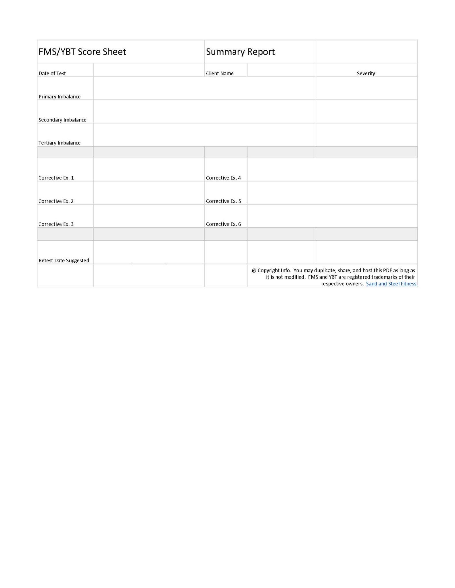 FMS + YBT Score Report Sheet