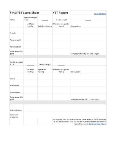 YBT Score Report Sheet