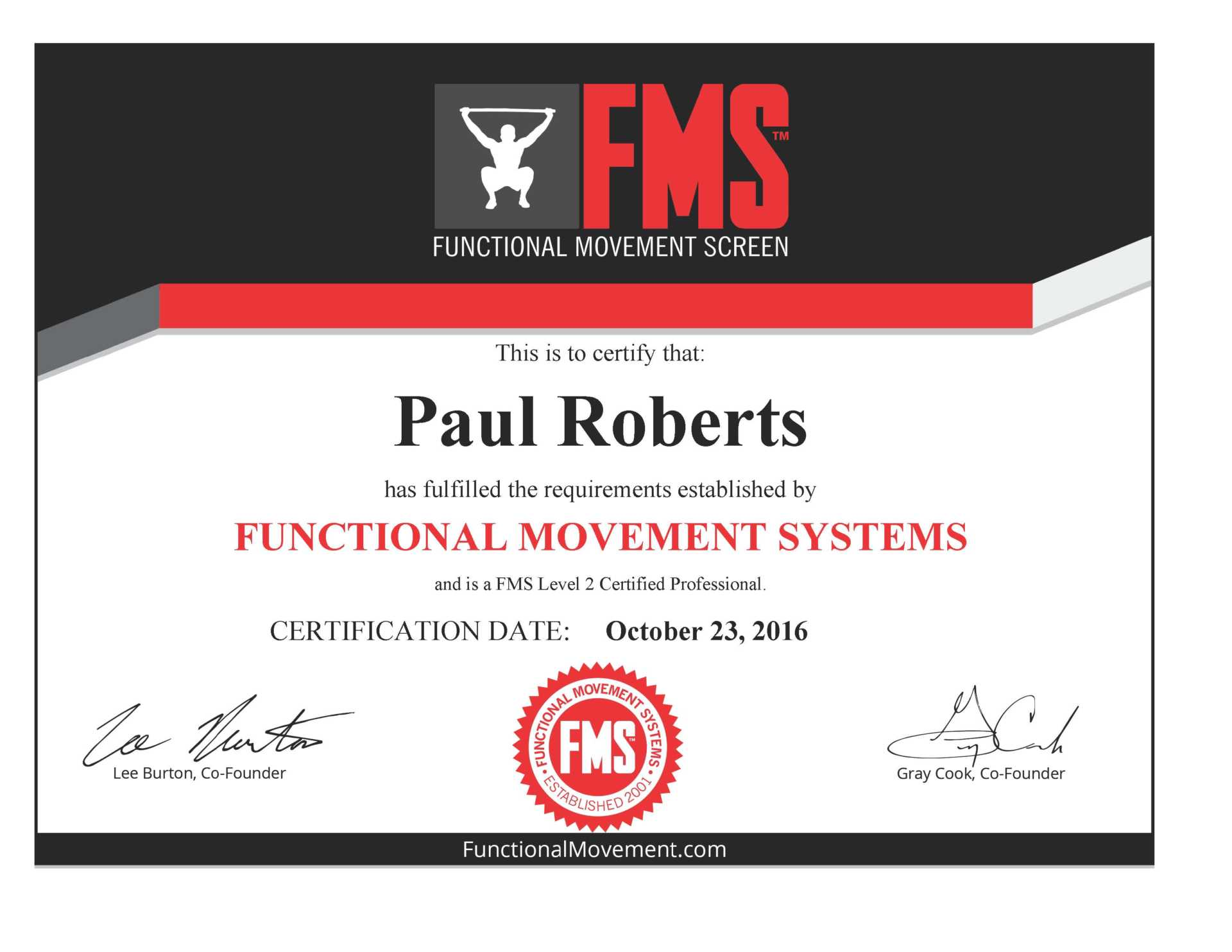FMS Functional Movement System Level 2 Certification