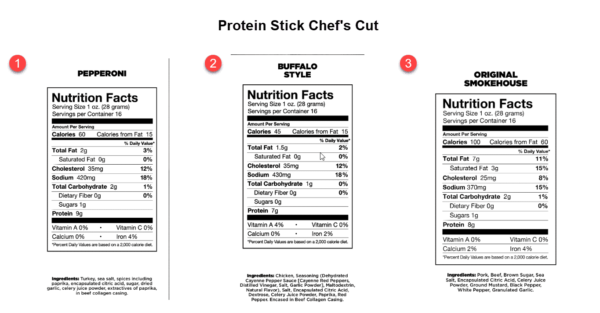 Protein Stick Chef's Cut Nutrition Facts