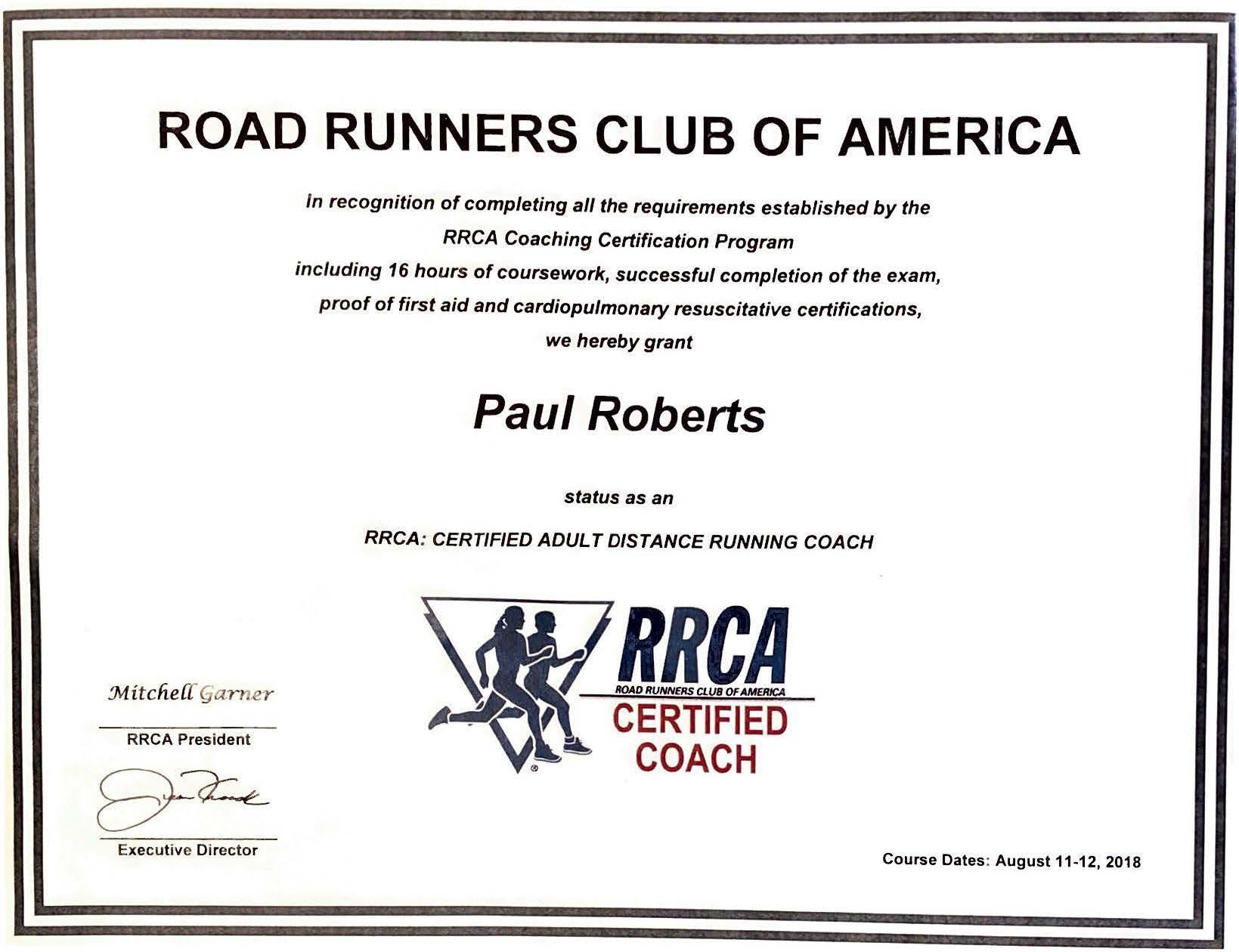 Road Runners Club of America RRCA Certified Coach Certificate