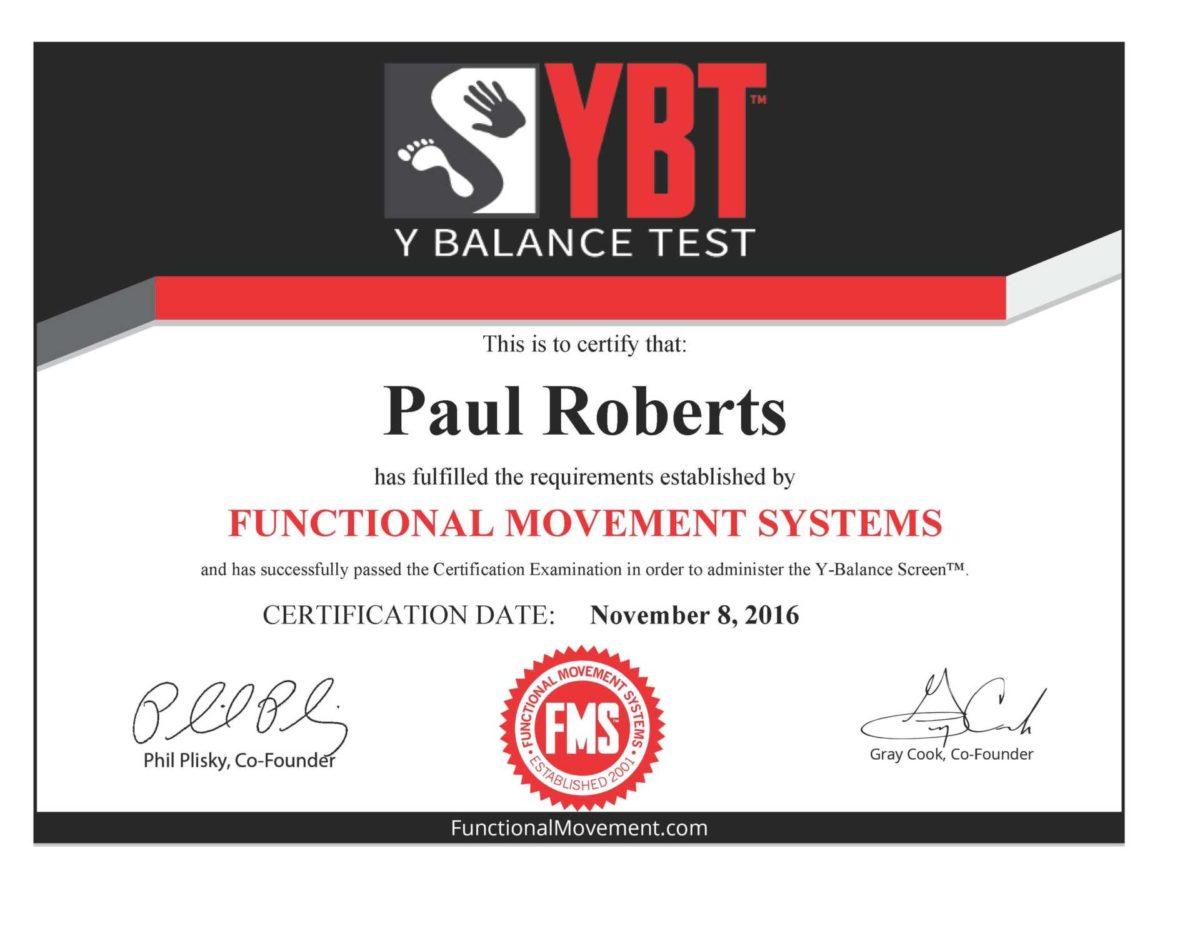 Y Balance Test YBT Certification