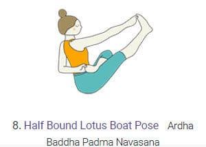 Half Bound Lotus Boat Pose - Ardha Baddha Padma Navasana