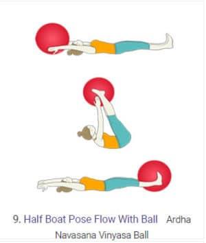 V-Up Swiss Ball Boat Pose 9