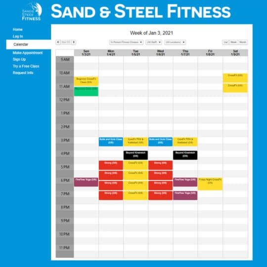 In-Person Fitness Class Schedule