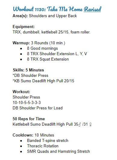 Beginner Workout Plan Revised WOD 1130