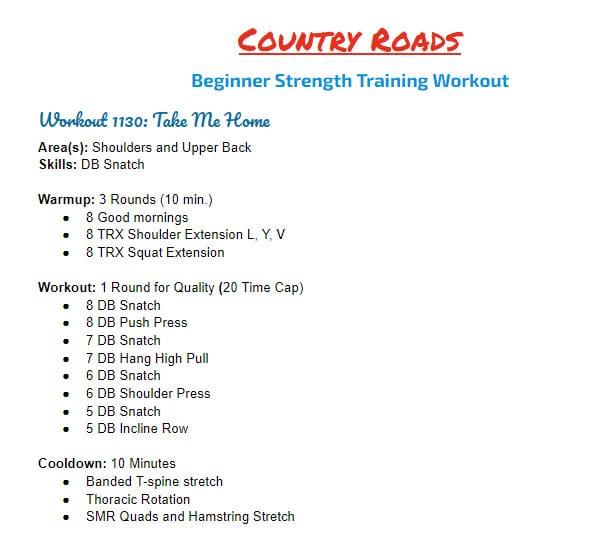 Take Me Home - Beginner Strength Program