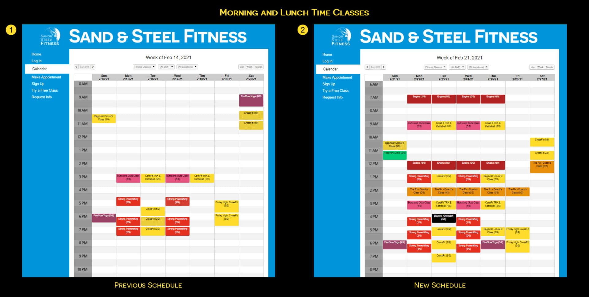Class Schedule Before and After