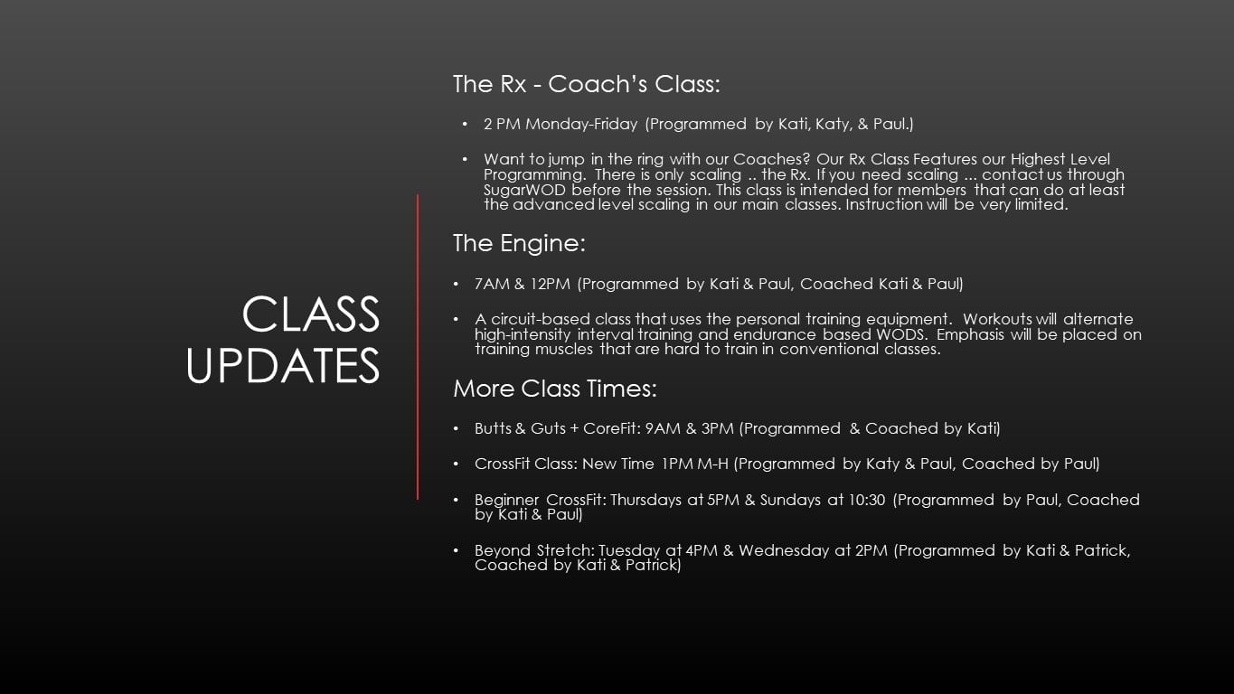 New Classes Now Available